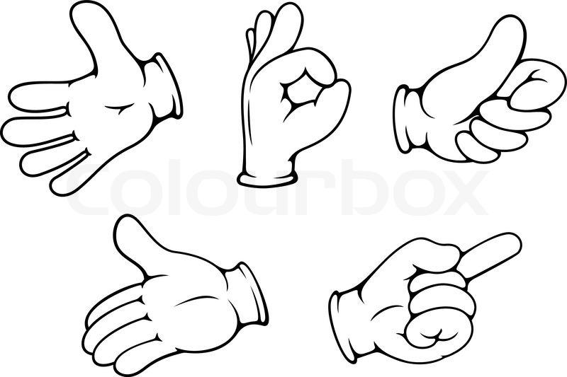 people hand gestures set in cartoon comics style stock vector