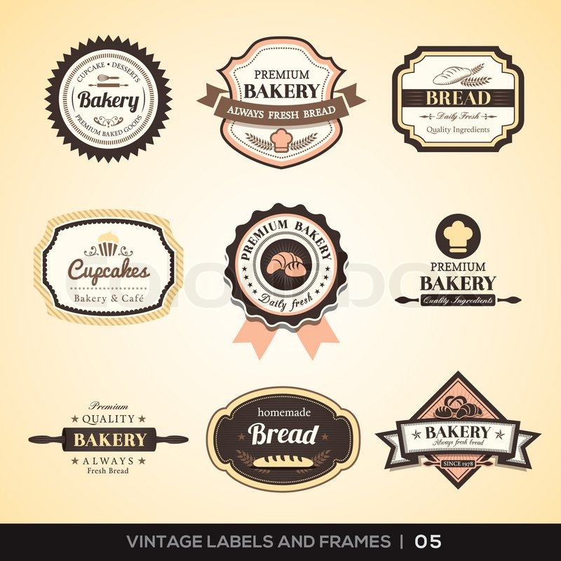 Vintage bakery logo labels and frames stock vector for Badge fait maison