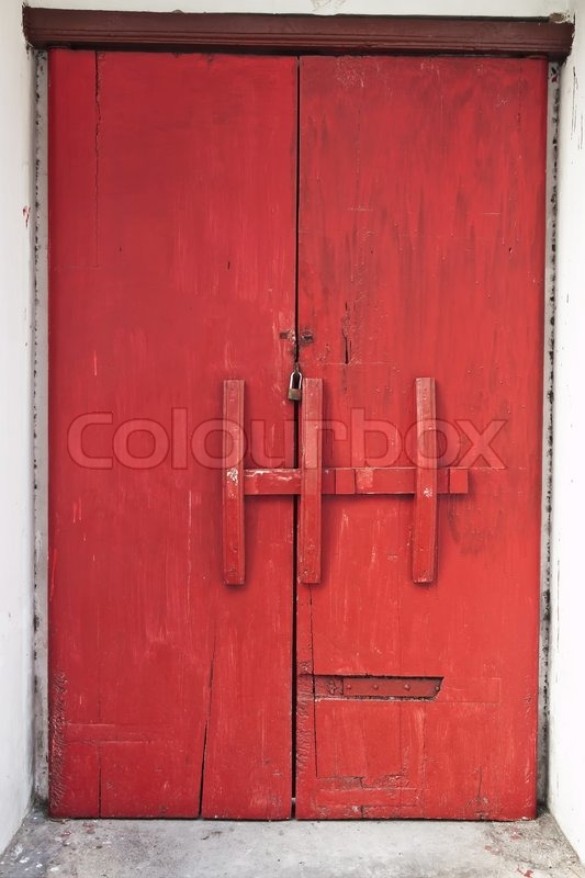 & Red old door in old Thai temple | Stock Photo | Colourbox