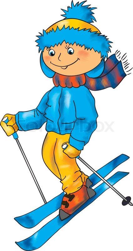 Winter illustration for children outdoor activity - Skiing ...
