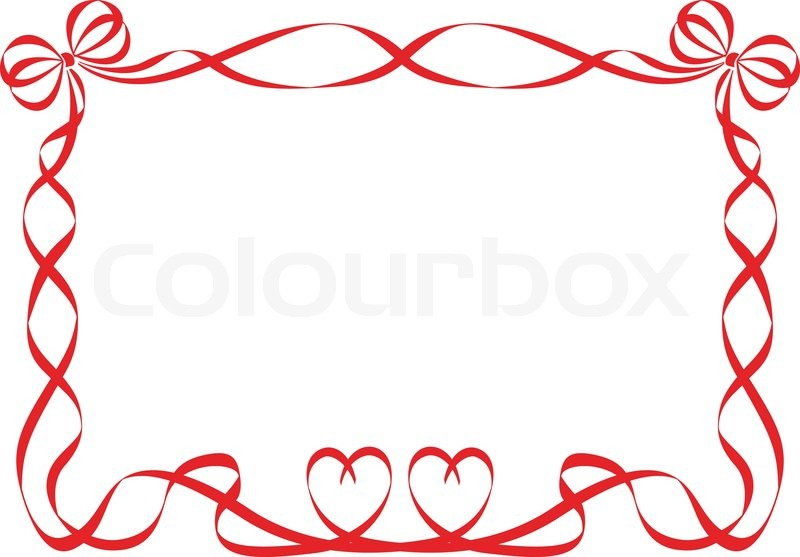 Red ribbon frame isolated on white | Stock Vector | Colourbox