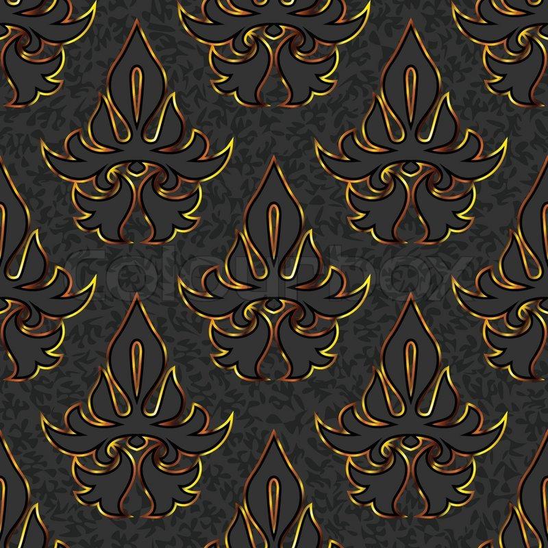 seamless floral damast schwarz gold hintergrund vektorgrafik colourbox. Black Bedroom Furniture Sets. Home Design Ideas