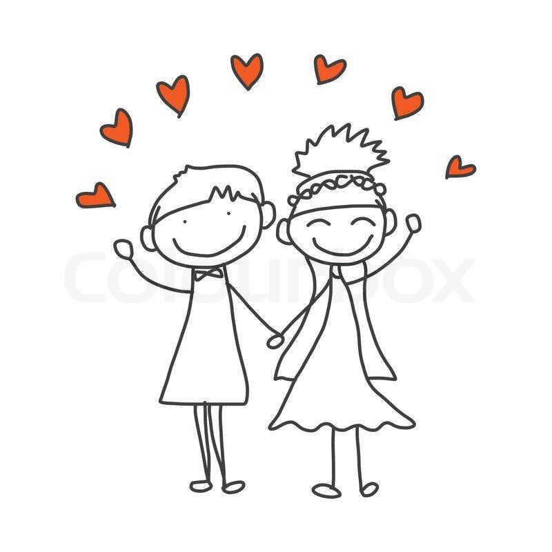 Line Drawing Wedding Couple : Hand drawing cartoon happy wedding couple stock vector