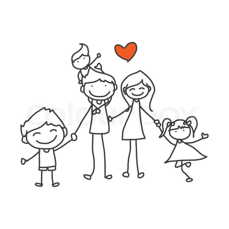 Hånd tegning tegneserie lykkelig familie stock vektor