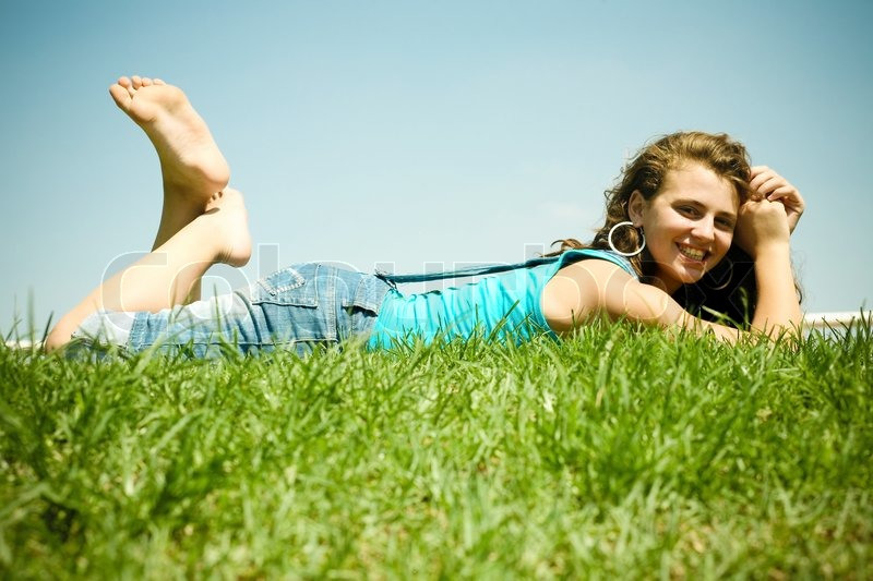 pretty teen model outdoors stock photo colourbox rh colourbox com