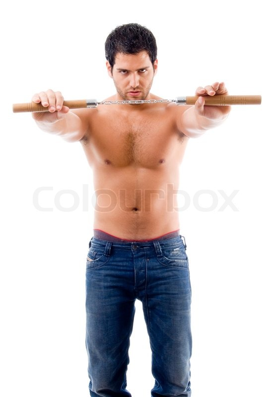 Young Man With No Shirt Battle Pose Stock Photo Colourbox