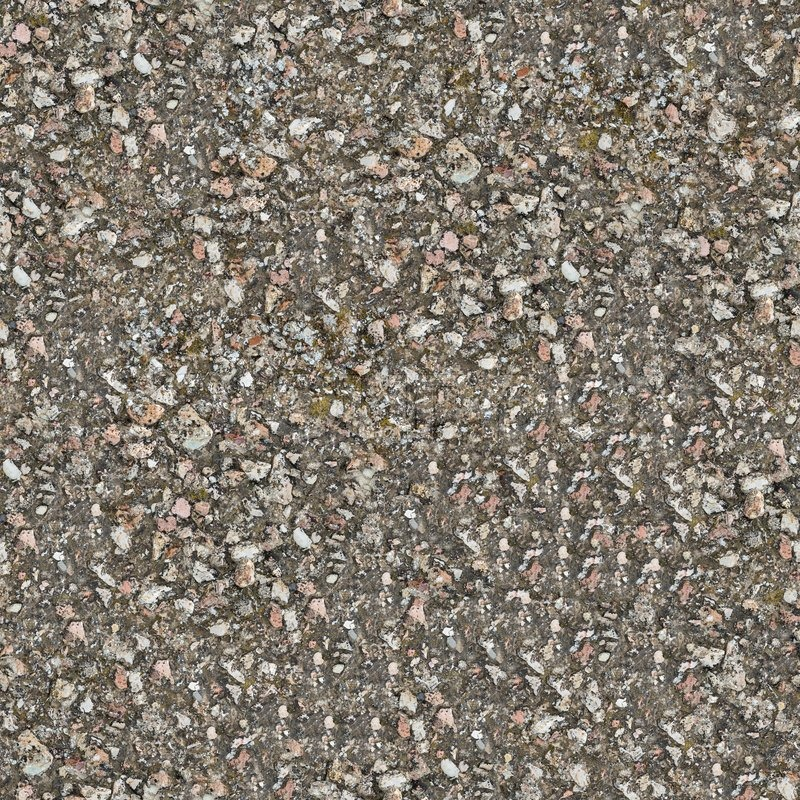 Seamless Texture of Weathered Old Concrete Surface with Protruding Stones and Spots of Moss, stock photo