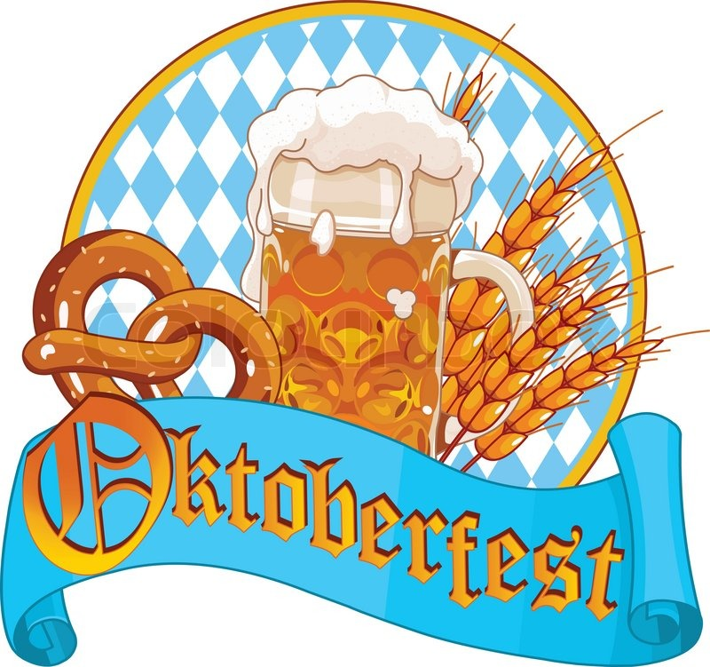 Round Oktoberfest Celebration design with beer, pretzel ...