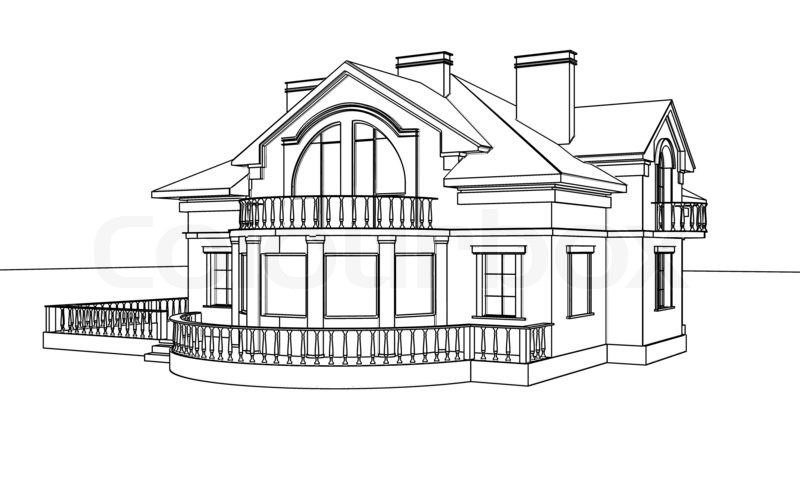 Drawing, Sketch Of A House, Stock Photo
