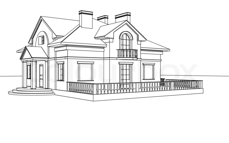 Drawing Sketch Of A House Stock Photo Colourbox