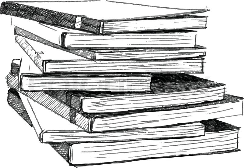 Book Pencil Drawing Books Sketch Vector Eps.10