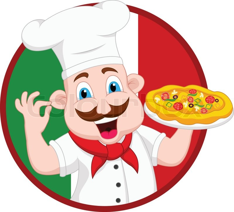 vector illustration of cartoon chef character with pizza Chef Hat Clip Art Borders Free Chef Hat Clip Art