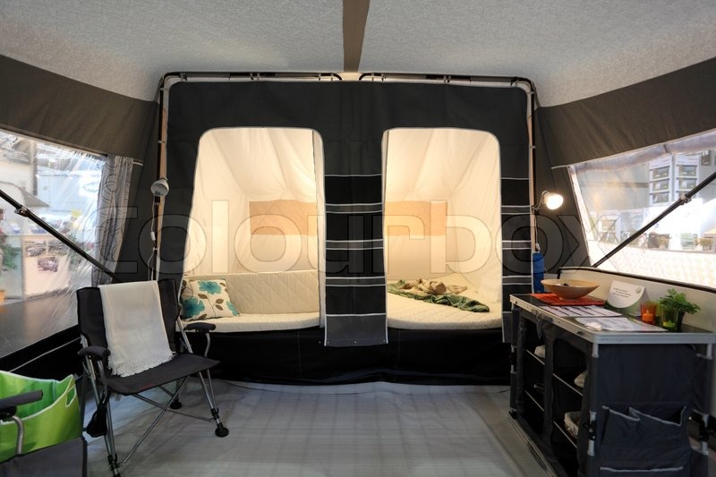 DUSSELDORF - SEPTEMBER 4 Inside of a tent caravan at the Caravan Salon Exhibition 2013 on September 04 2013 in Dusseldorf Germany | Stock Photo | ... & DUSSELDORF - SEPTEMBER 4: Inside of a tent caravan at the Caravan ...