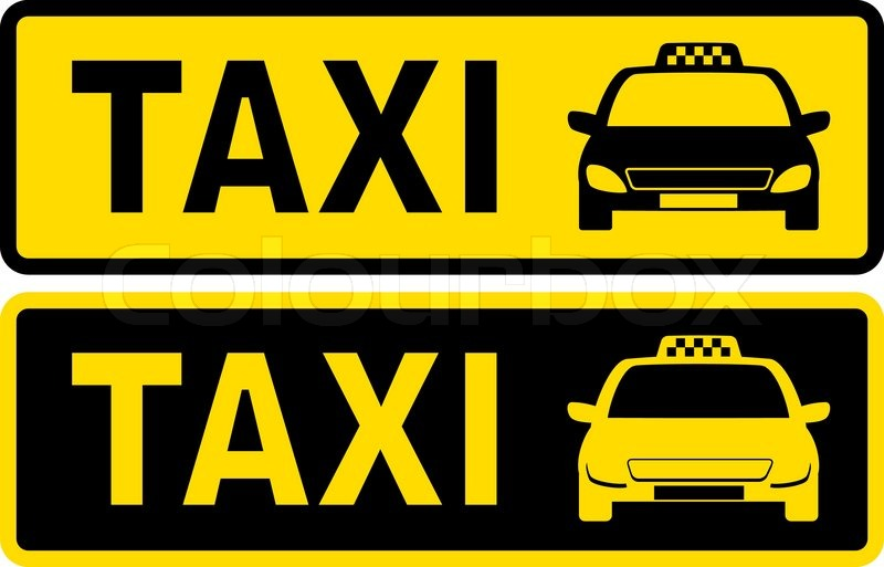 black and yellow taxi sign with cab image and text stock