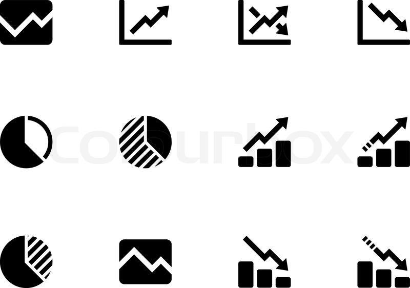 Kurvediagram Og Diagram Ikoner P Stock Vektor
