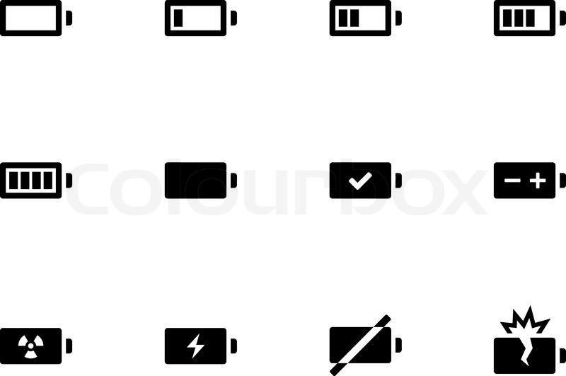 Batterie -Symbole auf weißem Hintergrund | Vektorgrafik | Colourbox