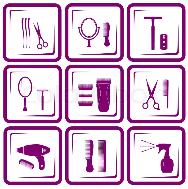 Set Of Hair Care Icons Stock Vector Colourbox