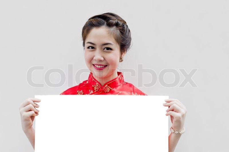 Orientalische Mädchen wünschen Ihnen ein glückliches chinesisches ...