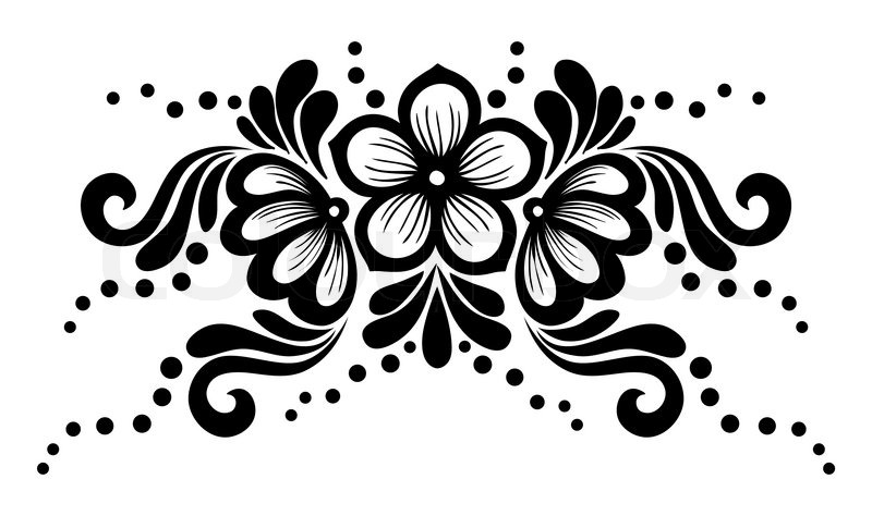 Black And White Lace Flowers And Stock Vector Colourbox