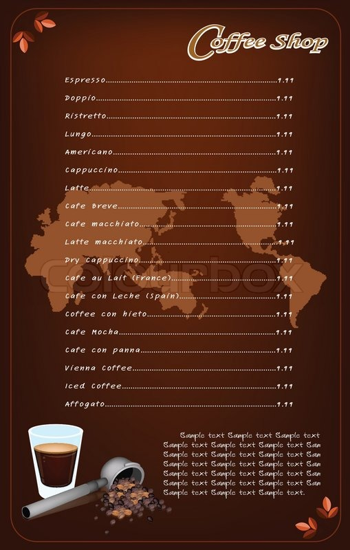 a coffee menu template for cafe and