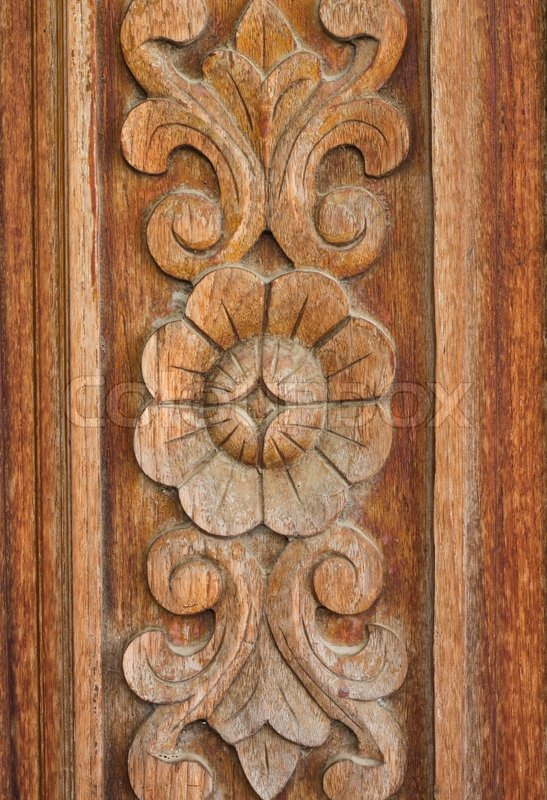 Wood Carving Of Flowers And Leaves Stock Photo Colourbox
