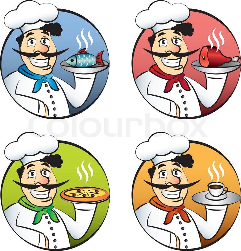 Italienische karikatur koch oder k chin mann vector set for Koch italienisch
