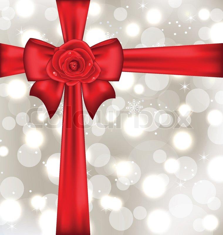 festliche geschenk verpackt mit schleife und rose vektorgrafik colourbox. Black Bedroom Furniture Sets. Home Design Ideas