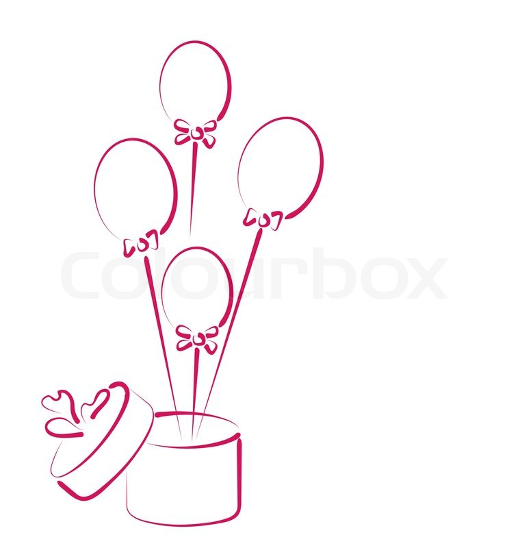 Open Gift Box With Balloons For Your Holiday