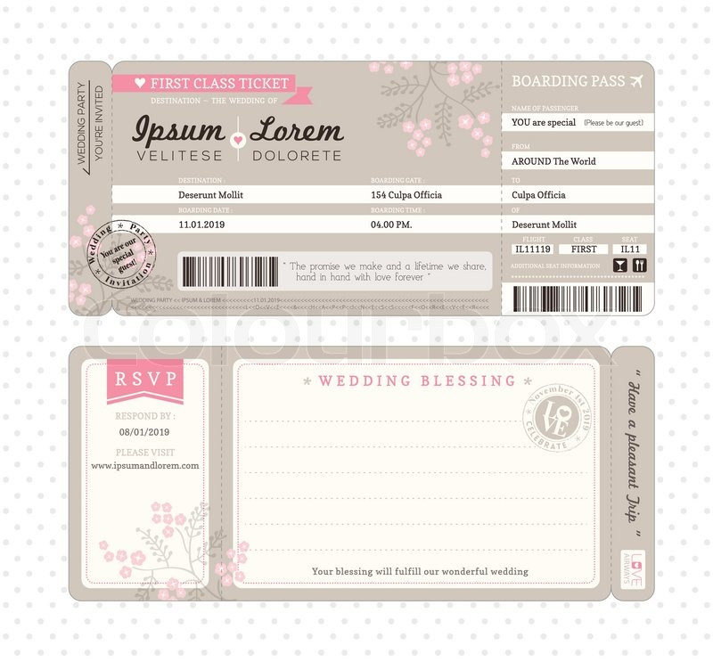 Boarding Pass Ticket Wedding Invitation Template | Stock Vector ...