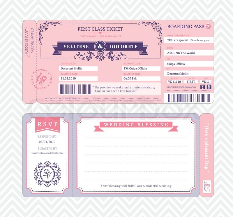Boarding Pass Ticket Wedding Invitation Template Stock