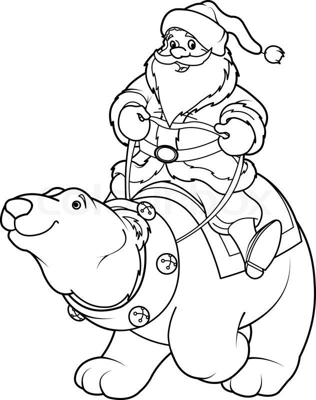 weihnachtsmann reitet auf eisbär ausmalbilder  stock