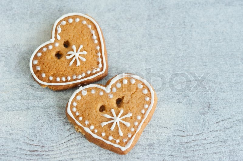 Two Christmas Gingerbread Heart Stock Image Colourbox