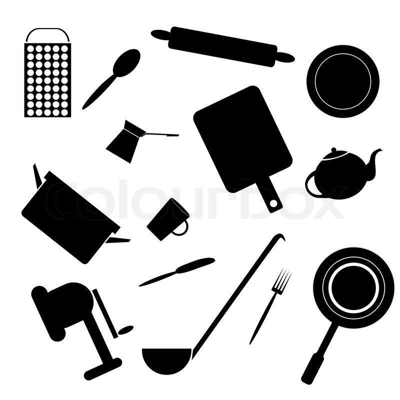 Silhouetten Von Zubehör Für Die Küche, Stock Vektor