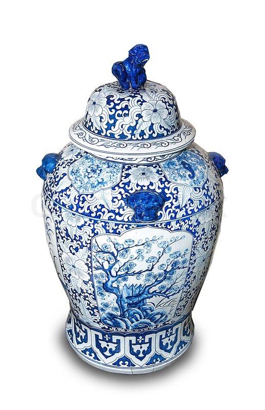 Chinese Ceramic Vases Isolated On White Background Stock Photo