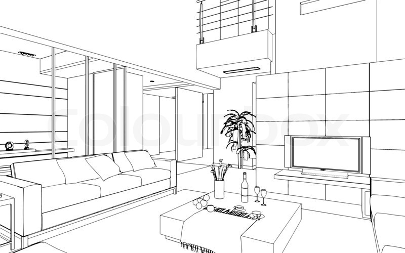 Illustration Of An Outline Sketch Of A Stock Photo