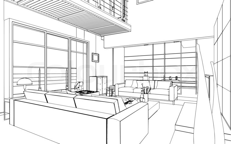 Illustration of an outline sketch of a interior 3d 3d house design drawings