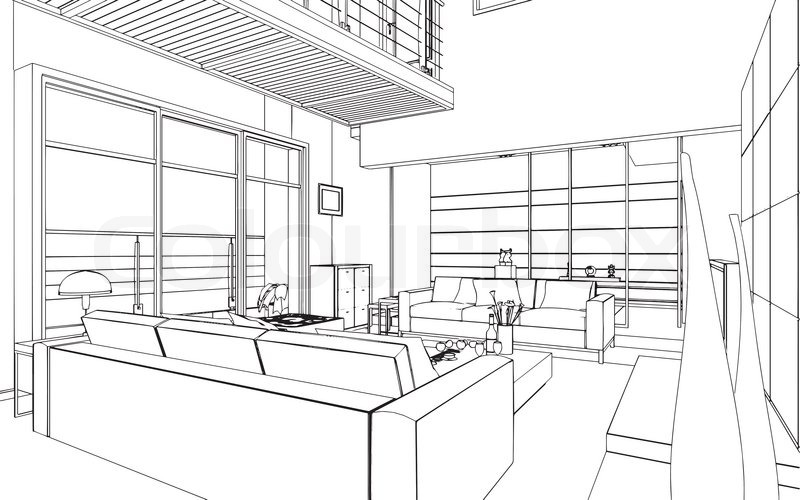 illustration of an outline sketch of a stock vector colourboxillustration of an outline sketch of a interior 3d graphical drawing interior, vector