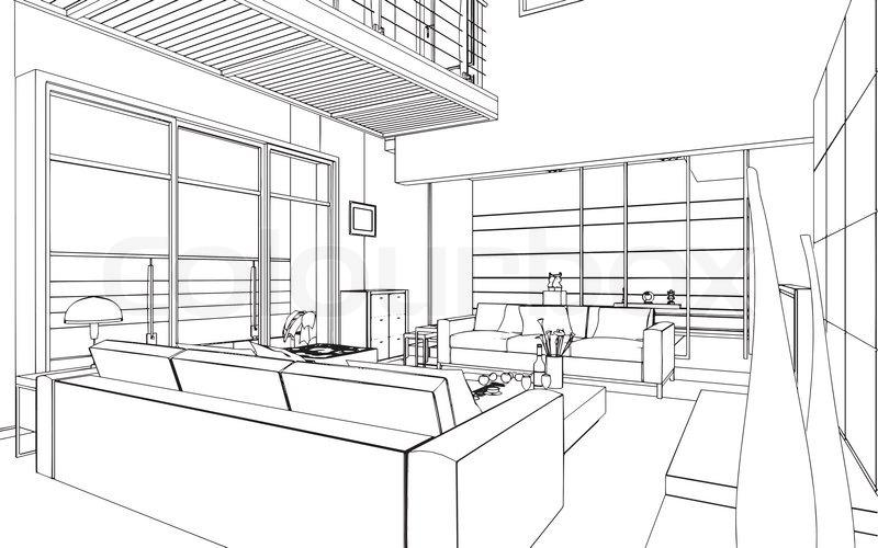 Interior Design Line Art Vector : Illustration of an outline sketch a interior d