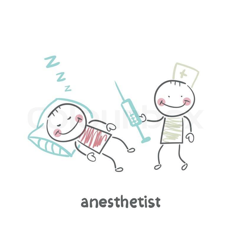 Anästhesist mit Spritze neben einem schlafenden Patienten ...