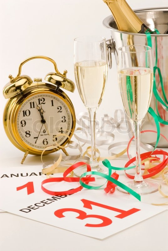 Two glasses of champagne and New Year\'s Eve decoration, stock photo