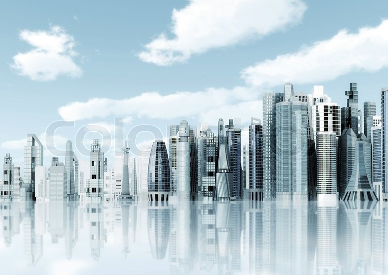 Modern City Background Illustrated With Architectural Commercial And Office Building Blue Sky Futuristic Design Environment