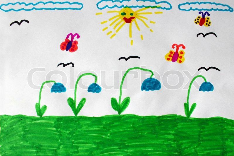 Kinder-Zeichnung mit Schmetterlingen und Blumen   Stockfoto   Colourbox