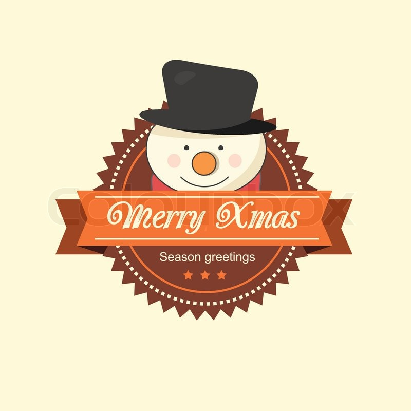 Snowman Christmas Illustration In Brown