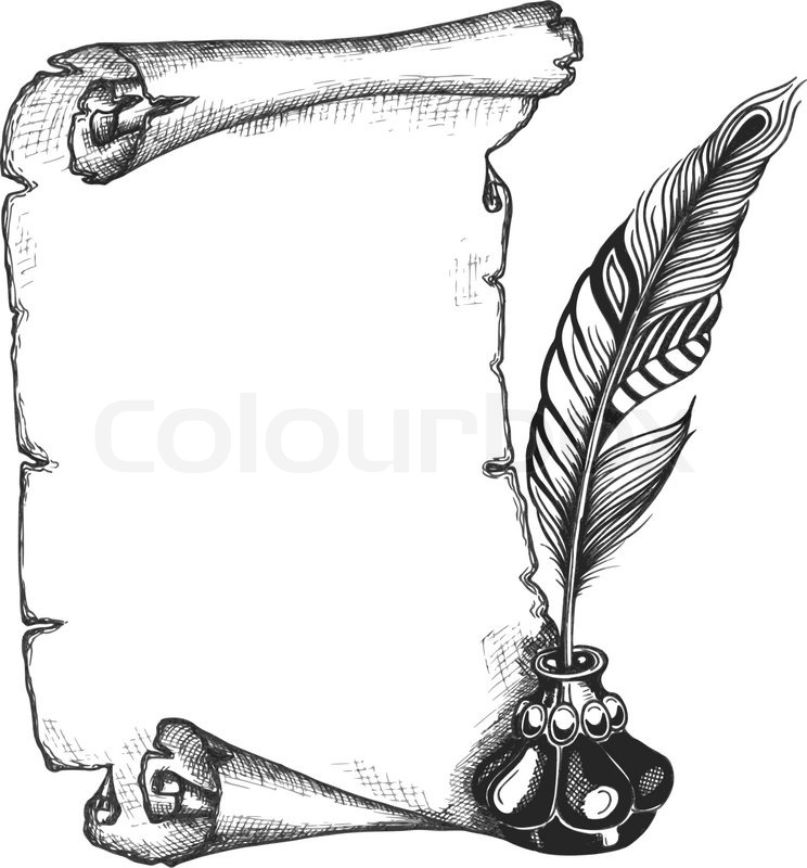Quill And Inkwell Drawing Paper scroll, feather ...