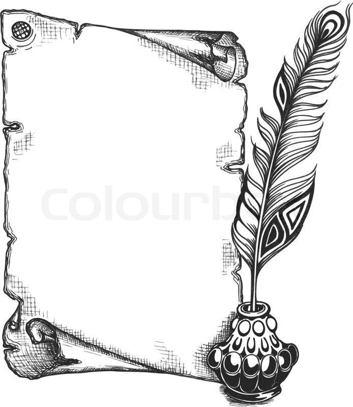 Scroll Drawing: Paper Scroll, Feather And Inkwell In A ...
