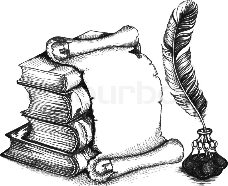 Notebook And Pen Sketch Stock Vector Art More Images Of: Paper Scroll, Feather And Books In A ...