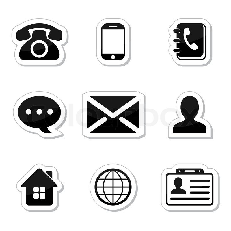 Contact Icons Set as labels | Stock Vector | Colourbox
