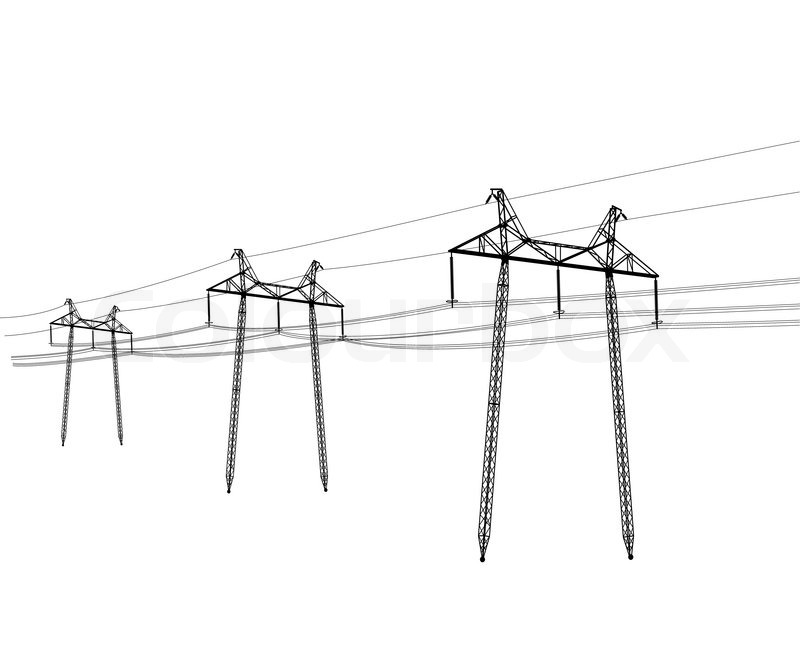 Silhouette Of High Voltage Power Lines Vectorillustration