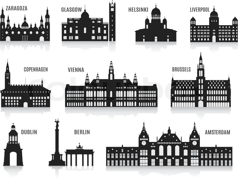 Silhouettes Of Cities Set For You Design Stock Vector