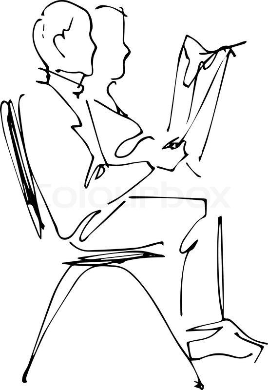 Bild Von Einem Mann Auf Einem Stuhl Sitzend Liest Eine Zeitung